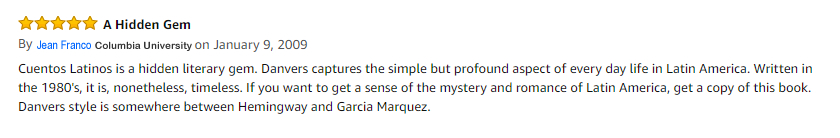 "Read my Amazon review ""Cuentos Latinos is hidden literary gem"""