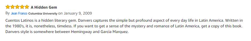 "Read my Amazon review ""Cuentos Latinos is hidden literary gem"""